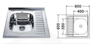 MR 6060 Мийка прямокутна накладна 600х600х180 Satin Left, фото 2