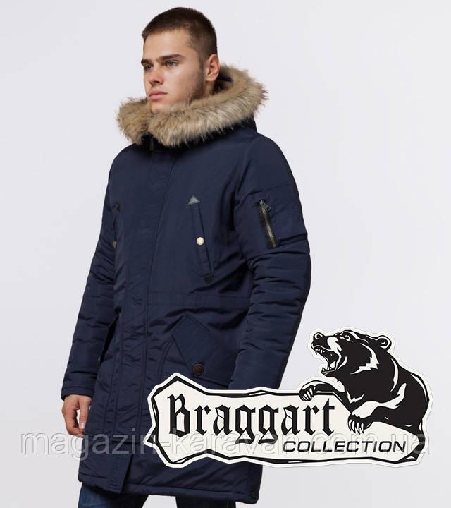 Парка мужская зимняя со вшитым капюшоном Braggart 91127 синий