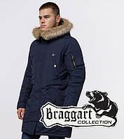 Парка мужская зимняя со вшитым капюшоном Braggart 91127 синий, фото 1