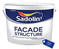Быстросохнущая структурная краска на водной основе для наружных работ FACADE STRUCTURE Sadolin, 5 л