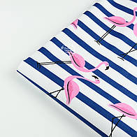 "Лоскут ткани №1389 ""Фламинго на синей полоске"""