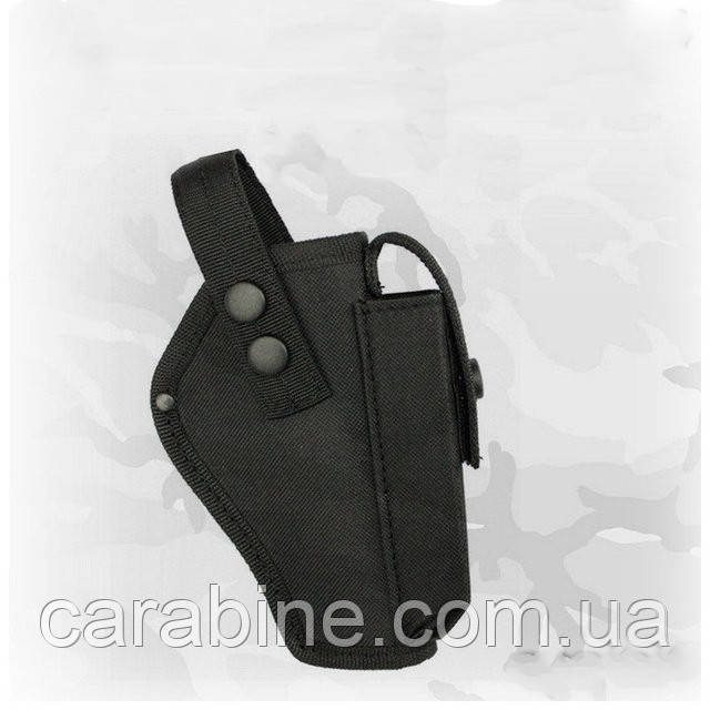 Кобура на пояс для Форт 14, з чохлом для магазину, чорна, тканина Оксфорд (код 026)