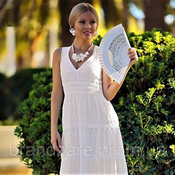 8f5bf7fc1c01eb4 Женский белый сарафан платье длинное макси из хлопка, кружева и прошвы