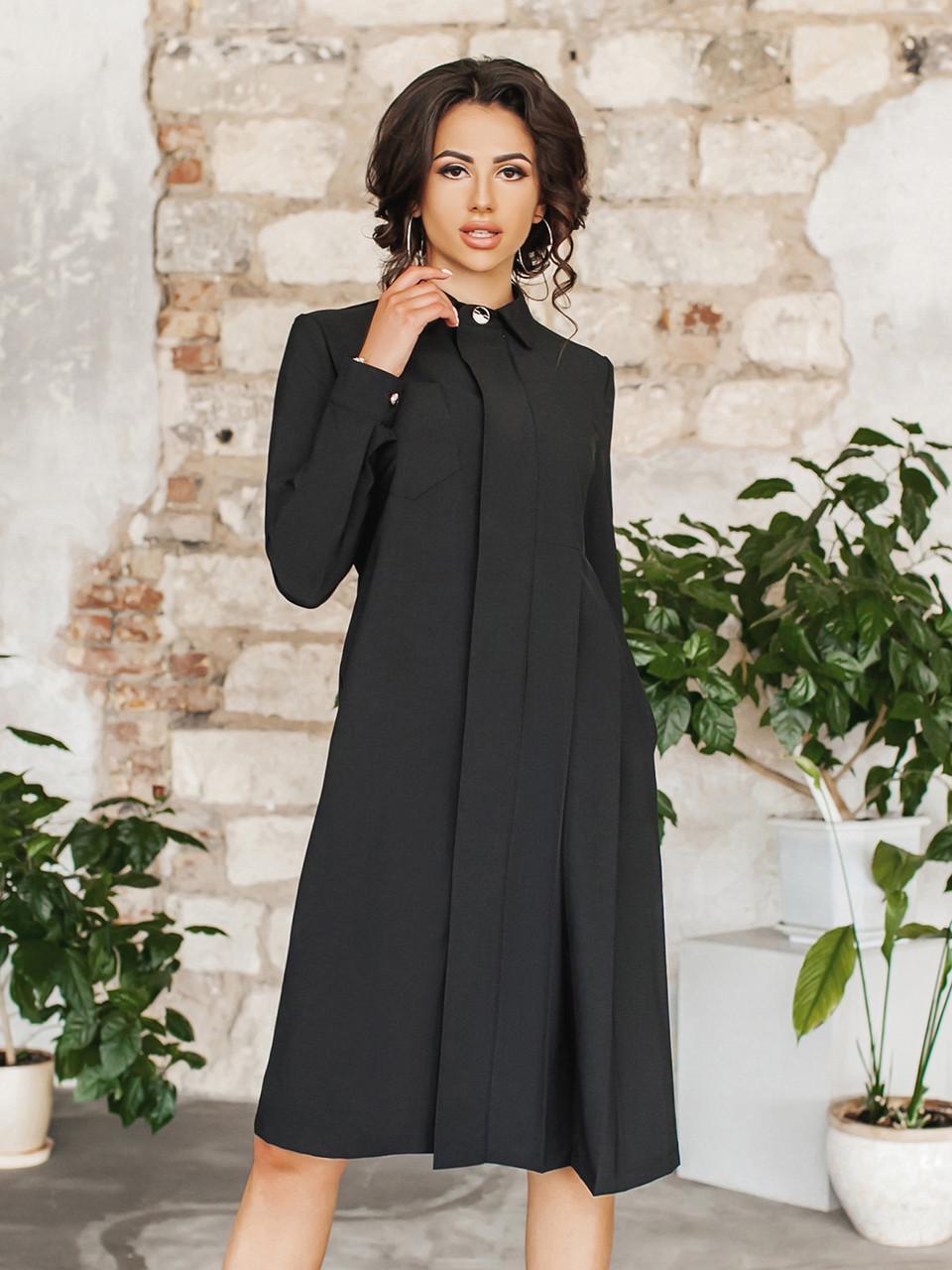 Черное Платье-рубашка Консетта
