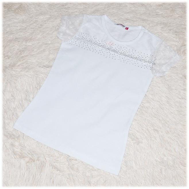 Блуза трикотаж школьная с коротким рукавом белая для девочки ТМ Matilda 128 152