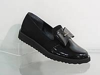 Модные молодежные женские замшевые туфли с бантом
