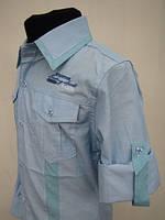 Голубая нарядная рубашка для мальчиков 128,152,164 роста