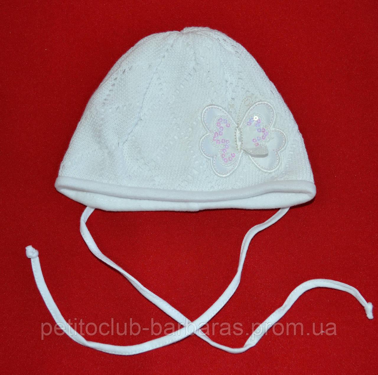 Шапка демисезонная для новорожденной девочки Fabia белая (Broel, Польша)