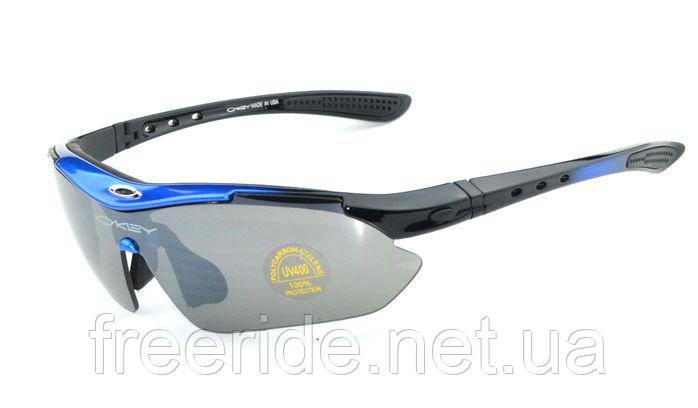 Спортивные UV400 велоочки OA (5 сменных линз) черно-синие