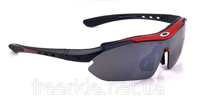 Спортивные UV400 велоочки OA (5 сменных линз) черно-красные