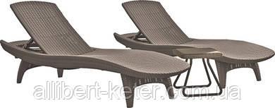 Комплект зі штучного ротангу PACIFIC SET + TABLE капучіно (Keter)