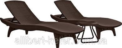 Комплект зі штучного ротангу PACIFIC SET + TABLE темно-коричневий (Keter)