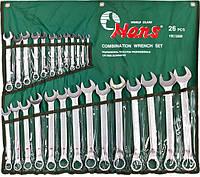 Набор ключей комбинированных изогнутых 6-32 мм HANS 26 предметов лента (166326М), фото 1