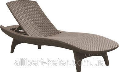 Садово-пляжний шезлонг зі штучного ротанг Pacific капучіно (Keter)