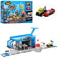 Гараж + 2 машинки 6,5см, дорожные знаки (машинки, автомодели, игрушки для мальчиков)