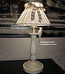 Настольная лампа с тканевым абажуром птички золото патина