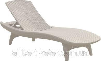 Садово-пляжний шезлонг зі штучного ротанг Pacific білий (Keter)