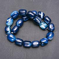Бусины из натурального камня Агат синий на нитке галтовка брусок d-15х20мм L-38см