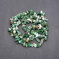 Бусины из натурального камня Яшма зеленая на нитке крошка d-7-9мм L-85см