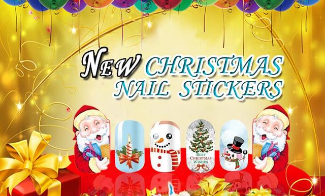 Новогодние наклейки для дизайна ногтей