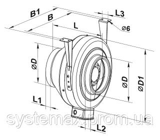 Габаритные размеры Вентс ВКМц, Vents VKMc (канальный круглый центробежный вентилятор)