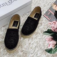 Эспадрильи женские брендовые из натуральной кожи на платформе черные
