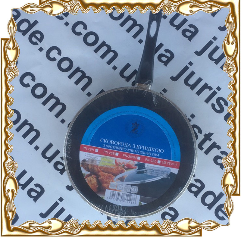 Сковорода 28 см. тефлон/крышка Interos PN-28H