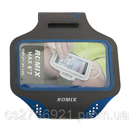 Ультратонкий влагостойкий наручный чехол с сенсорным экраном 5.5 ROMIX RH18-5.5BL синий, фото 2