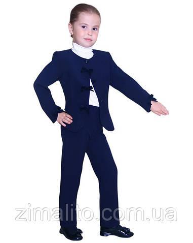 Пиджак с бархатными бантиками темно синий для девочки