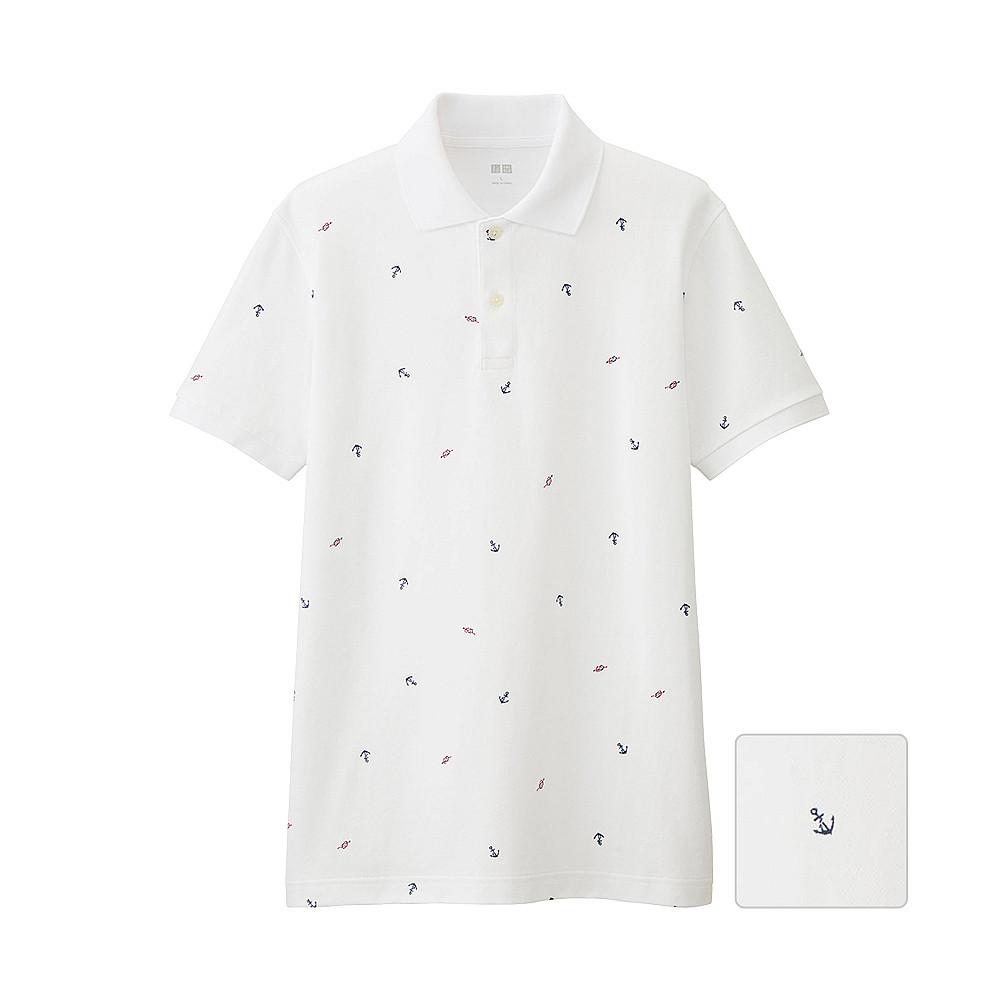 Футболка поло Uniqlo Men Dry Pique Printed 2 WHITE