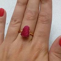 Друза агата кольцо с натуральной друзой в позолоте 17,3 размер