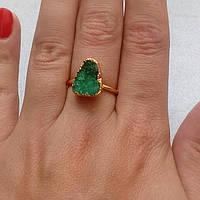 Друза агата кольцо с натуральной друзой  в позолоте