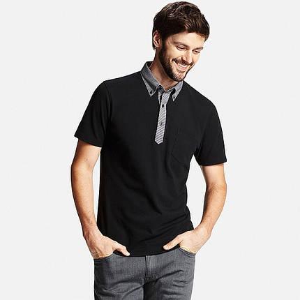 Футболка поло Uniqlo Men Dry Button-Down Collar 3 BLACK, фото 2