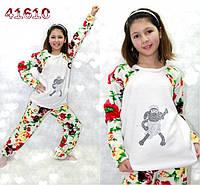 Детская махровая пижама,теплая, белый цвет.