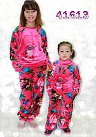 Детская махровая пижама,теплая, малиновый цвет.