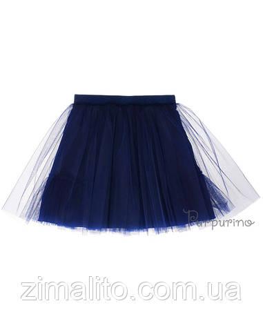 Юбка евросетка с оборкой, цвет темно синий для девочки