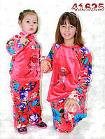 Детская махровая пижама,теплая,корраловый цвет.