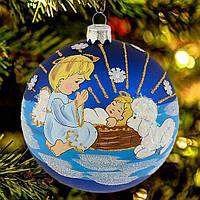"""Новогодний шар с рисунком """"Ангел у колыбели"""" 100 мм"""