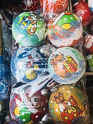Елочные Новогодние Шары 8 см Украшение на Елку с Рисунком Собачка Символ Года в Наборе 6 шт