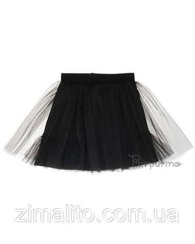 Юбка евросетка с оборкой, цвет черный для девочки