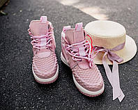Nike Lunar Force Duckboot '17 Pink   ботинки/кроссовки женские; высокие; розовые; кожаные