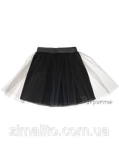 Юбка евросетка с поясом из люрикса, цвет черный для девочки