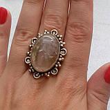 Рутиловый кварц кольцо с натуральным кварцем-волосатиком в серебре 18-18,5 размер Индия, фото 2