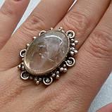 Рутиловый кварц кольцо с натуральным кварцем-волосатиком в серебре 18-18,5 размер Индия, фото 3