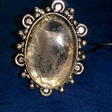 Рутиловый кварц кольцо с натуральным кварцем-волосатиком в серебре 18-18,5 размер Индия, фото 4