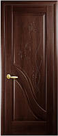 Двери межкомнатные Амата Глухое с гравировкой каштан