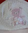 """Нарядная шапка для девочки """"Атласный мишка"""" розовая (Marika, Польша), фото 3"""