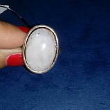 Лунный камень кольцо с натуральным лунным камнем в серебре 18.0-18.5 размер Индия, фото 3