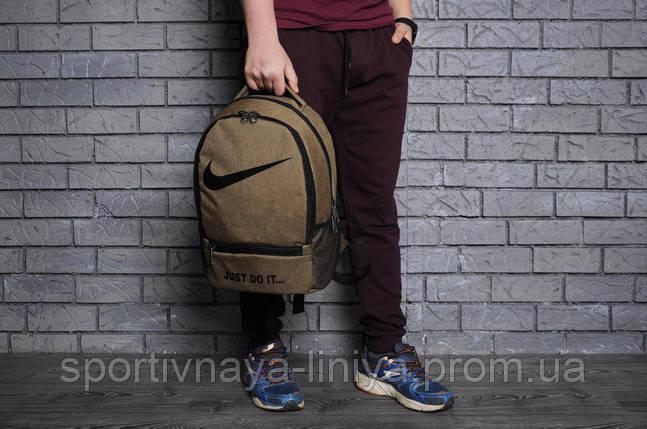 Спортивный коричневый рюкзак Nike 2 отделения коттон (реплика), фото 2