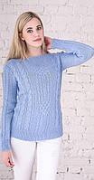 Женский свитер с плетением голубой, фото 1